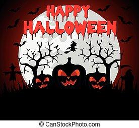 Happy Halloween background with pumpkin