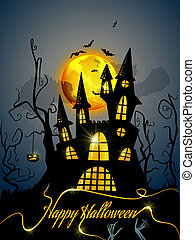 Happy Halloween background with spooky castle
