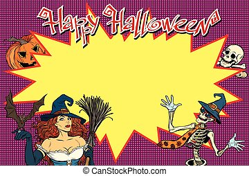 Happy Halloween background with witch, skeleton and pumpkin
