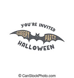Happy Halloween badge. Vintage hand drawn logo design. Monochrome style. Typography elements and Halloween symbol - bat. Stock vector isolated on white background