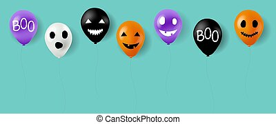 Happy Halloween Balloons With Mint Background