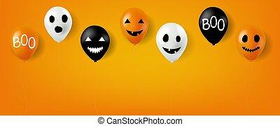 Happy Halloween Balloons With Orange Background