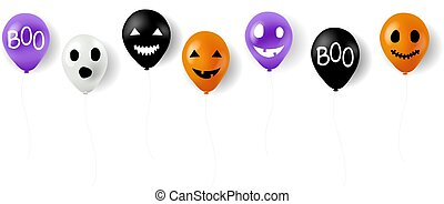 Happy Halloween Balloons With White Background