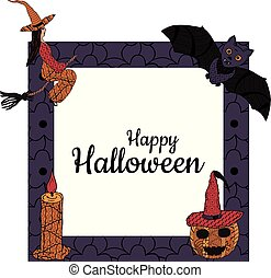 Happy Halloween! Banner. A square frame with a witch on a broomstick, a candle, a bat, a smiling pumpkin in a witch's cap in patterns in the style of Zenart. In the middle is the inscription. Vector.