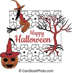 Happy Halloween! Banner. A witch on a broomstick, a tree, a smiling pumpkin in a witch's cap, a square white background with patterns in the style of Zenart. In the middle is the inscription. Vector.