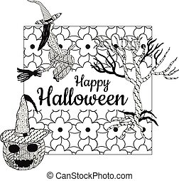 Happy Halloween! Banner. A witch on a broomstick, a tree, a smiling pumpkin in a witch's cap, a square background with patterns in the style of Zenart. In the middle is the inscription. Vector.