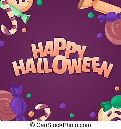Happy halloween banner. Colorful sweets and candies icons