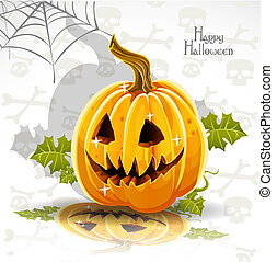 Happy Halloween banner - cut out pumpkin Jack