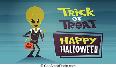 Happy Halloween Banner Holiday Decoration Horror Party Greeting Card Cute Cartoon Alien Trick Or Treat