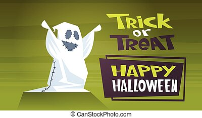 Happy Halloween Banner Holiday Decoration Horror Party Greeting Card Cute Cartoon Ghost Trick Or Treat