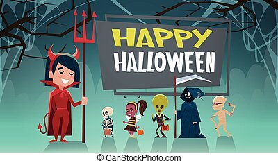 Happy Halloween Banner Holiday Decoration Horror Party Greeting Card Cute Cartoon Monsters
