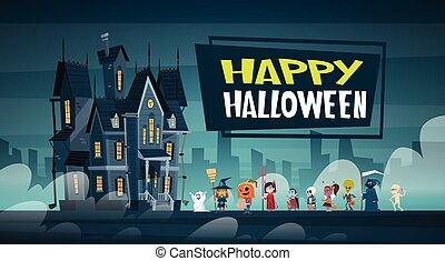 Happy Halloween Banner Holiday Decoration Horror Party Greeting Card Cute Cartoon Monsters Walking To Dark Castle With Ghosts