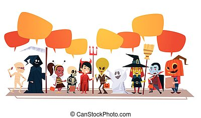 Happy Halloween Banner Holiday Decoration Horror Party Greeting Card Cute Cartoon Monsters With Chat Bubbles