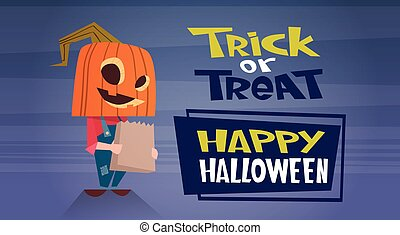Happy Halloween Banner Holiday Decoration Horror Party Greeting Card Cute Cartoon Pumpkin Trick Or Treat
