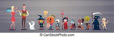 Happy Halloween Banner Holiday Decoration Horror Party Greeting Card Man And Woman Giving Candy To Cute Cartoon Monsters