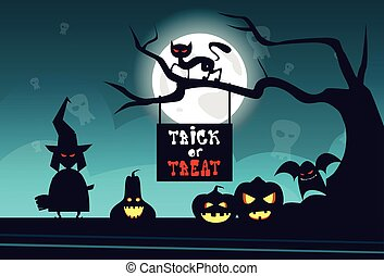 Happy Halloween Banner Trick Or Treat Concept Holiday Greeting Card Horror Party