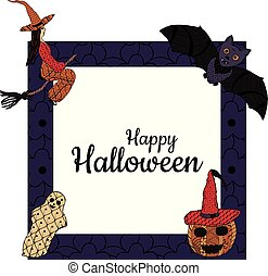 Happy Halloween! Banner. Witch on a broomstick, smiling pumpkin in a witch's cap, bat, ghost, a square background with patterns in the style of Zenart. In the middle is the inscription. Vector.