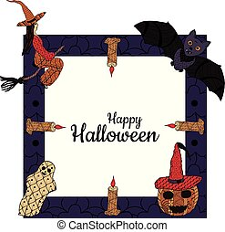 Happy Halloween! Banner. Witch on a broomsticks, smiling pumpkin in a witch's cap, bat, ghost, candles, a square background with patterns in the style of Zenart. In the middle is the inscription.