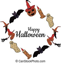 Happy Halloween! Banner. Witches on a broomsticks, smiling pumpkin in a witch's cap, bats, ghosts, candles with patterns in the style of Zenart. In the middle is the inscription. Vector.