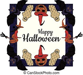 Happy Halloween! Banner. Witches on a broomsticks, smiling pumpkins in a witch's caps, bats, ghosts, a square background with patterns in the style of Zenart. In the middle is the inscription. Vector.