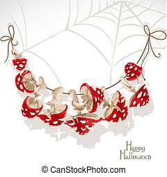 Halloween banner with a garland