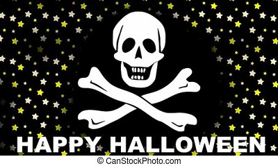 Happy Halloween banner with a rippling image of the skull and crossed bones. Against the background of a colorful star changing colors. FullHD animation