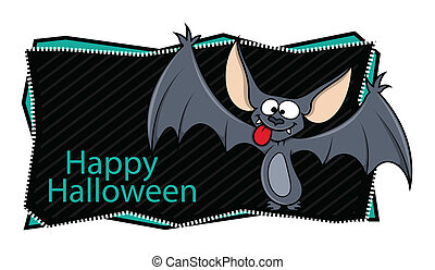 Happy Halloween Banner with Bat