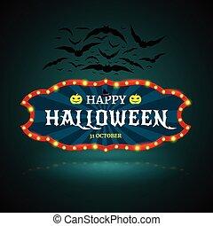 Happy Halloween banner with bat.