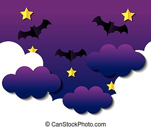 happy halloween banner, with bats flying in sky in paper cut style
