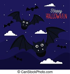 happy halloween banner with bats flying