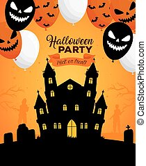 happy halloween banner with castle haunted and scary balloons helium