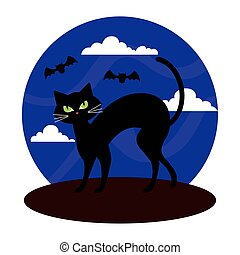 happy halloween banner with cat black