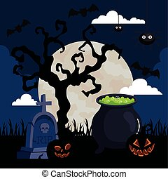 happy halloween banner with cauldron in cemetery scene vector illustration design