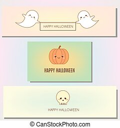 Happy halloween banner with cute characters in kawaii style