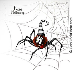 Happy Halloween banner with cute spider on the web isolated on a white background