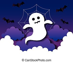 happy halloween banner, with ghost, clouds and bats flying in paper cut style