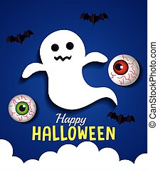 happy halloween banner, with ghost, eyeballs and bats flying in paper cut style