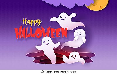 Happy halloween banner with ghosts flying in paper cut style