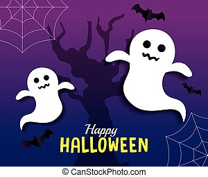happy halloween banner, with ghosts, spiderwebs and bats flying in paper cut style