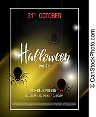 Happy Halloween banner with light effect. Party invitation. Abstract background with spiders. Vector illustration.