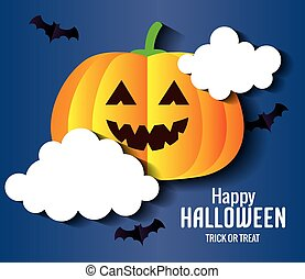 happy halloween banner, with pumpkin and bats flying in paper cut style