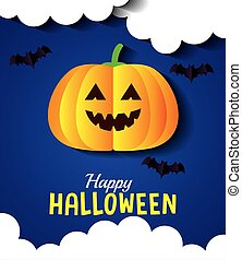 happy halloween banner, with pumpkin, clouds and bats flying in paper cut style