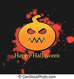 Happy Halloween Banner With Pumpkin