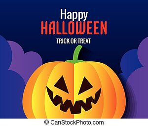 happy halloween banner, with pumpkin in paper cut style