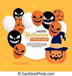 happy halloween banner with pumpkins and scary balloons helium