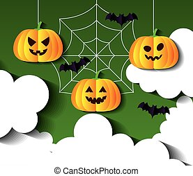 happy halloween banner, with pumpkins hanging and bats flying in paper cut style