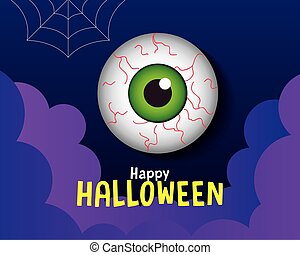 happy halloween banner, with scary eyeball in paper cut style