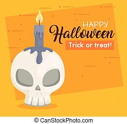 happy halloween banner with skull and candle