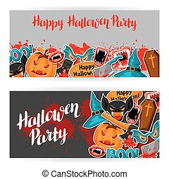Happy Halloween banners with cartoon holiday sticker symbols. Invitation to party or greeting card