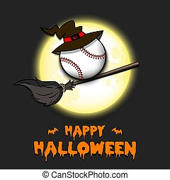 Happy Halloween. Baseball ball with witch hat on a broomstick against the background of the moon. Pattern for banner, poster, greeting card, flyer, party invitation. Vector illustration